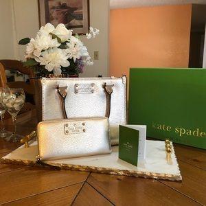 EUC Kate Spade Metallic gold handbag and wallet